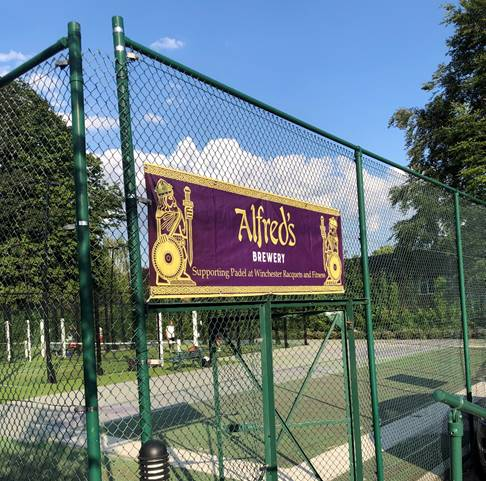 Alfred's Banner at padel court, Winchester